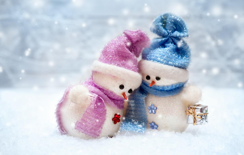 Photo wallpaper New Year, Christmas, snowman, winter, snow, merry christmas, snowman