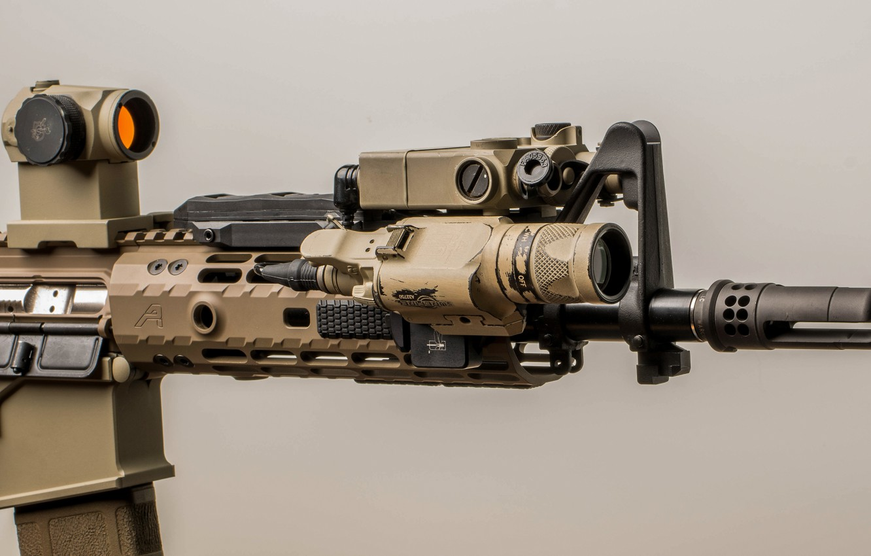 Photo wallpaper macro, flashlight, optics, assault rifle