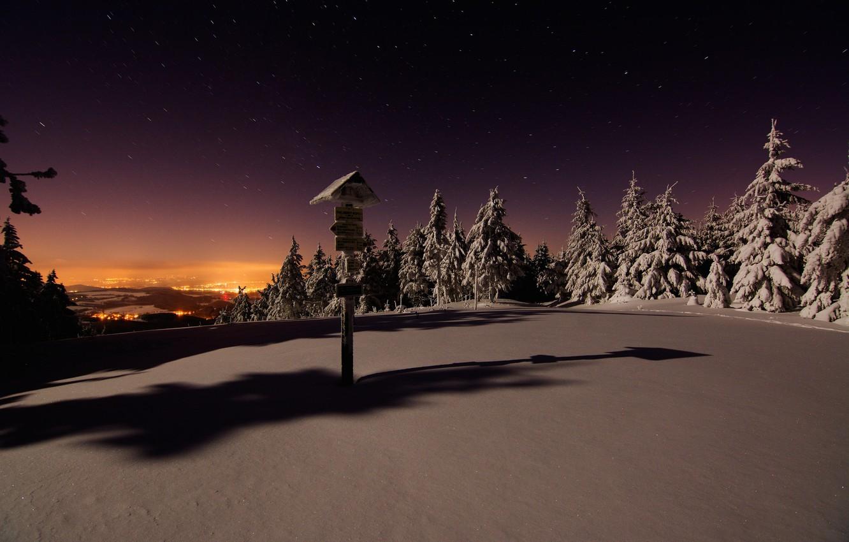 Photo wallpaper Winter, Night, Snow