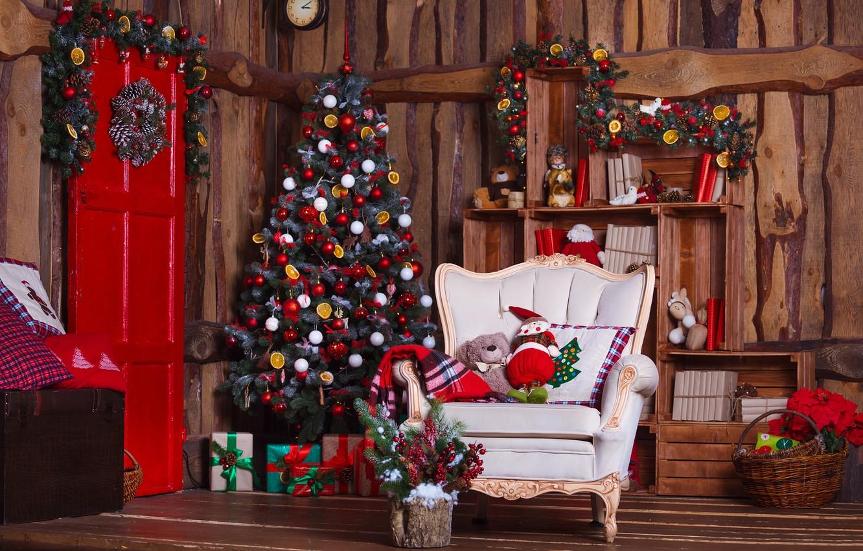 Photo wallpaper decoration, room, balls, toys, tree, New Year, Christmas, gifts, Christmas, design, wood, Merry Christmas, Xmas, …