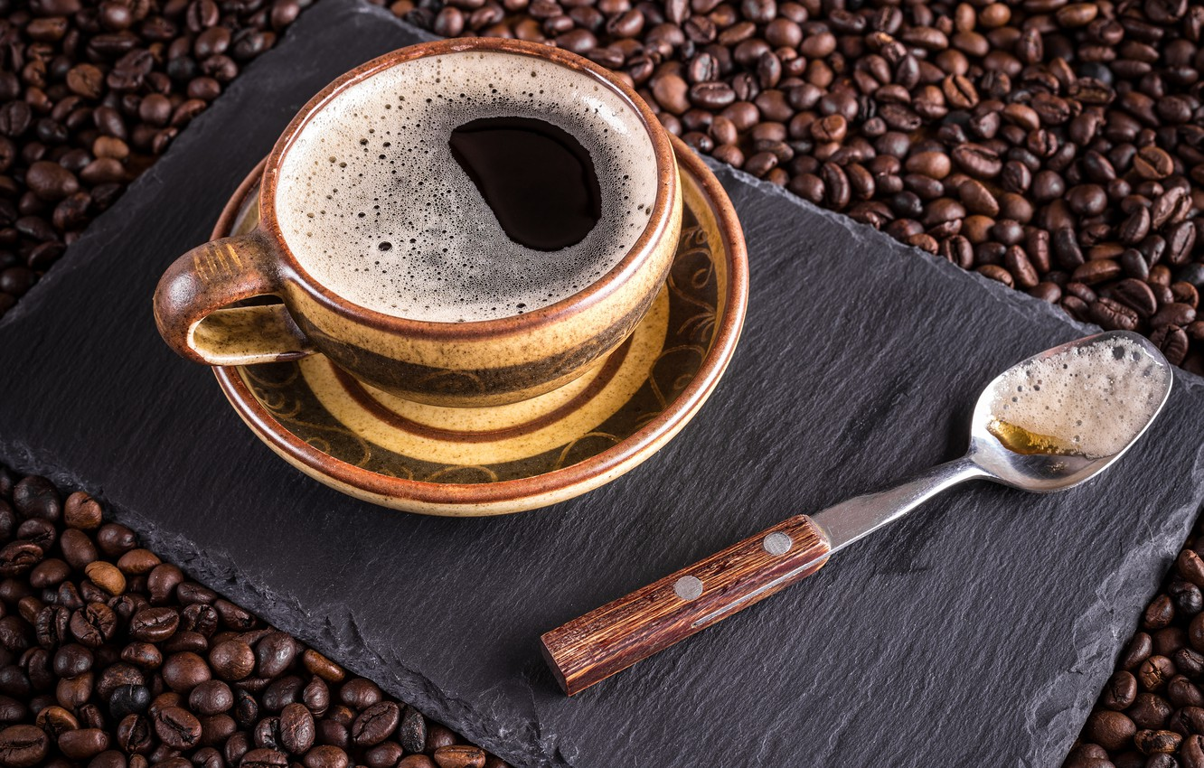 Photo wallpaper coffee, grain, Cup, hot, cup, beans, coffee