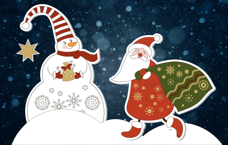 Photo wallpaper Winter, Minimalism, Snow, Christmas, Background, New year, Santa, Holiday, Santa Claus, Mood, Snowman, Bag