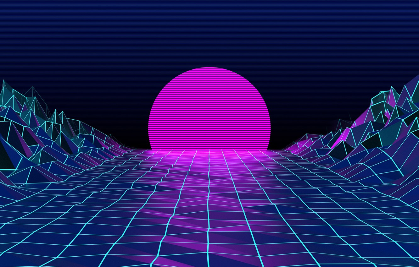 Photo wallpaper The sun, Mountains, The moon, Neon, Graphics, Electronic, Synthpop, Darkwave, Synth, Retrowave, Synth-pop, Sinti, Synthwave, ...