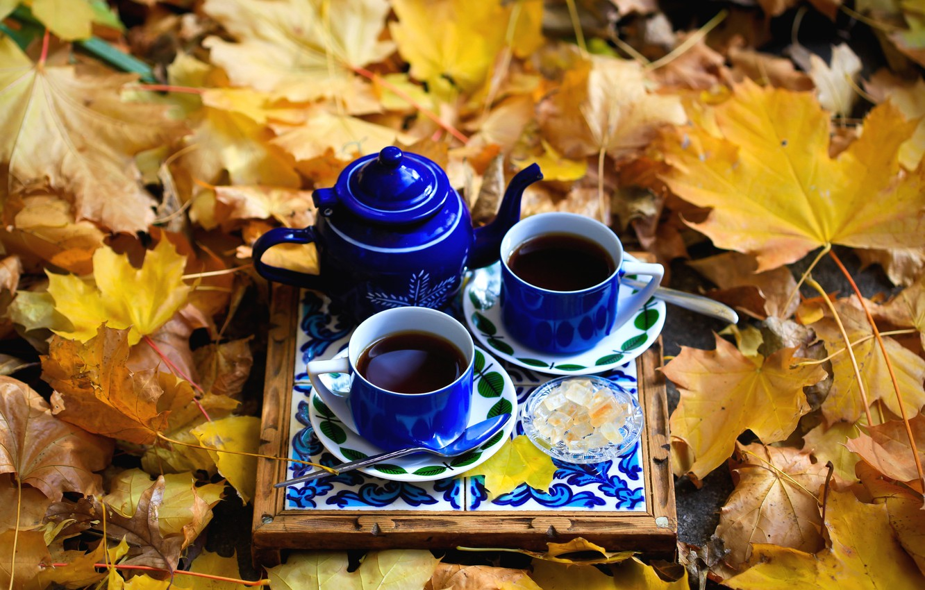 Photo wallpaper autumn, tea, Cup, sweets, maple leaves