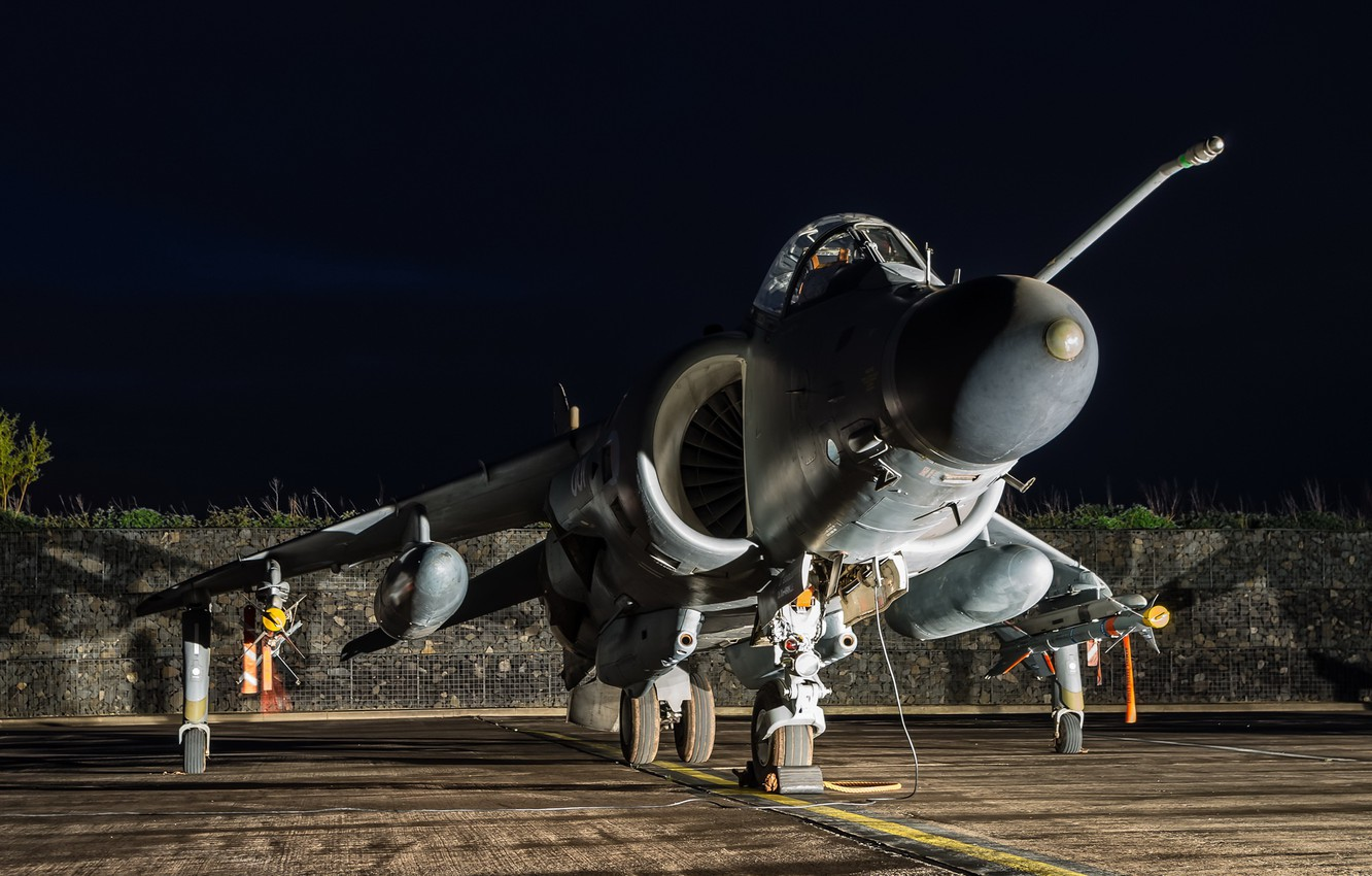 Wallpaper night, weapons, the plane, Harrier FA.2 images ...