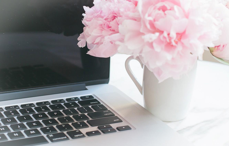 Photo wallpaper flowers, bouquet, laptop, marble, pink, flowers, peonies, peonies, tender, marble