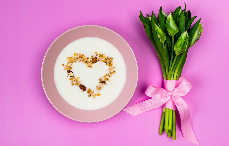 Photo wallpaper flowers, heart, bouquet, milk, tape, love, buds, heart, pink, flowers, romantic, spring, muesli, bud, tender