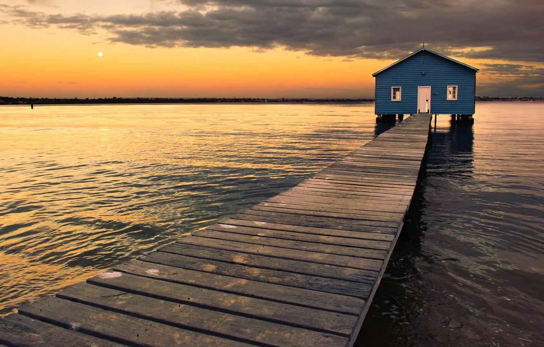 Photo wallpaper pier, Australia, pierce, boathouse, Perth, Matilda Bay