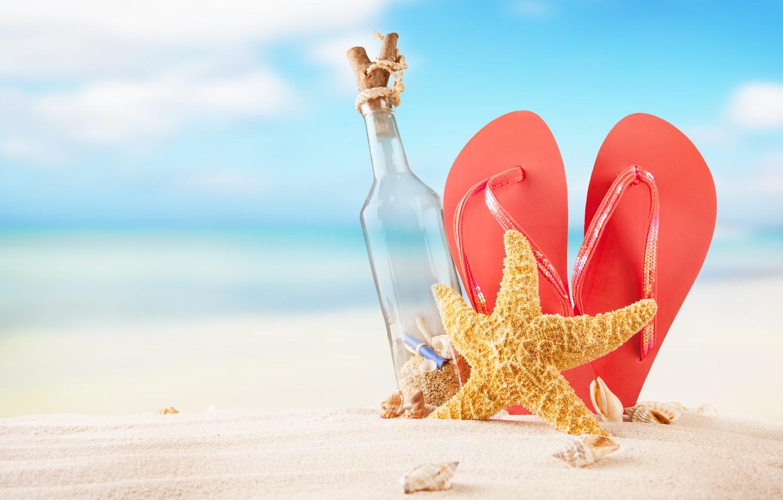 Photo wallpaper sand, sea, beach, summer, the sun, bottle, shell, summer, beach, vacation, sand, slates, vacation, starfish, …