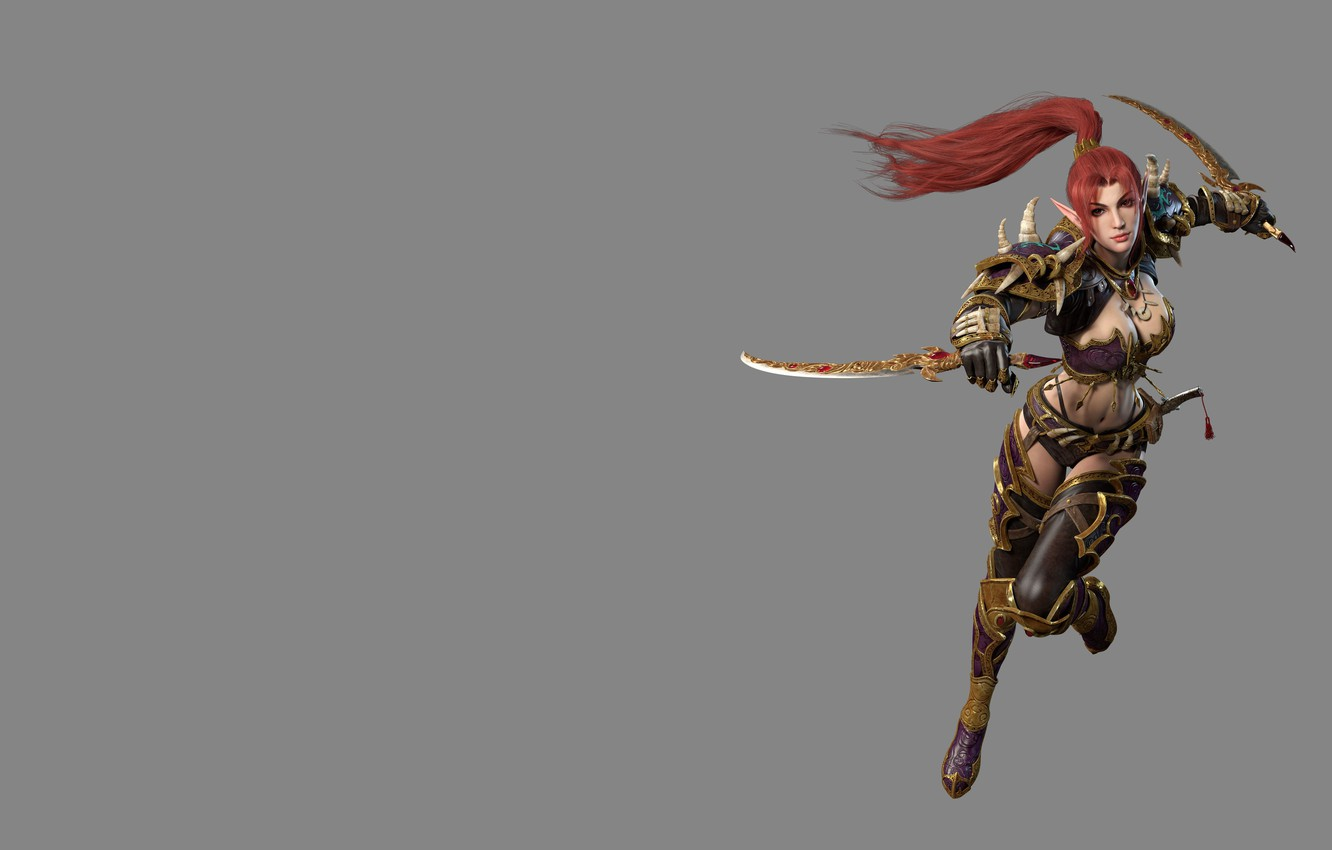 Photo wallpaper weapons, elf, the game, fantasy, art, knife, assassin, costume design, yonglin yao