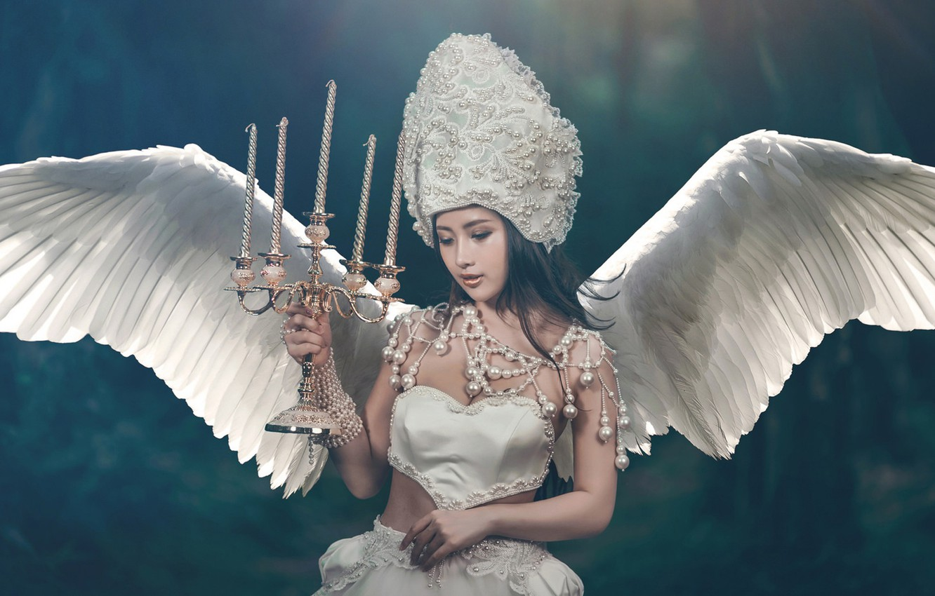 Photo wallpaper girl, style, background, wings, angel, candles, Asian, bracelets, candle holder, headdress