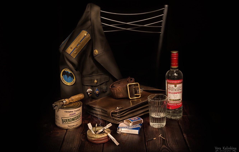 Photo wallpaper glass, strap, vodka, tablet, cigarette, jacket, canned