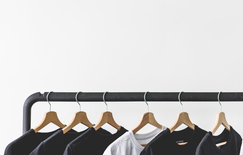 Photo wallpaper clothing, hanger, t-shirt