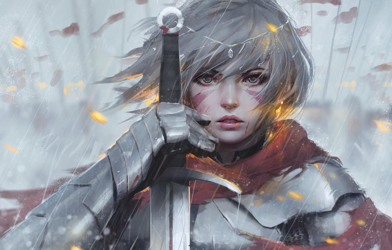 Photo wallpaper girl, sword, fantasy, rain, armor, eyes, art, tattoo, face, painting, artwork, warrior, fantasy art, Knight, …