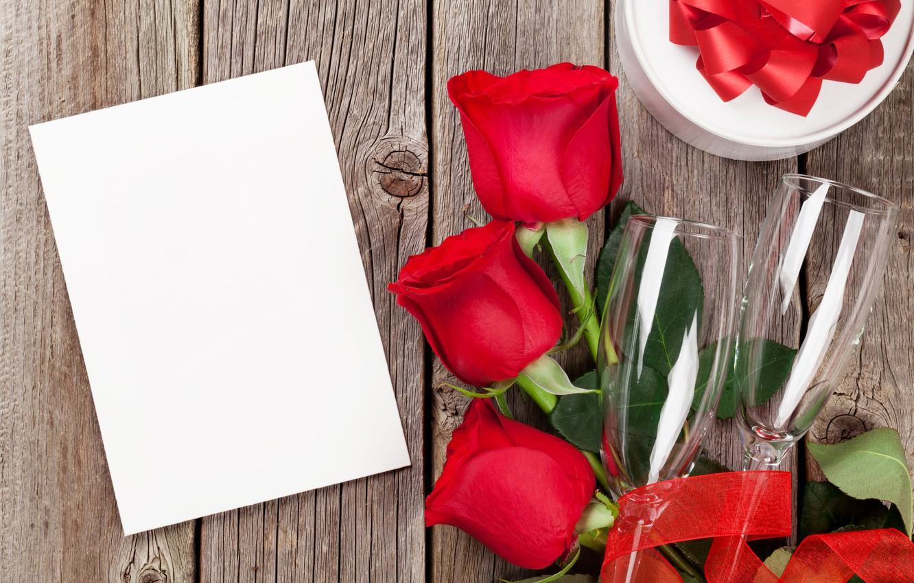 Photo wallpaper love, flowers, gift, roses, bouquet, glasses, red, red, love, wood, flowers, romantic, Valentine's Day, gift, …