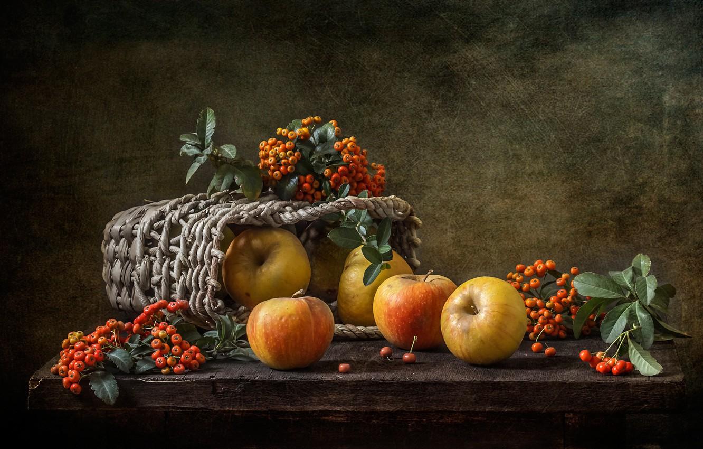 Photo wallpaper berries, background, apples, still life, basket, English