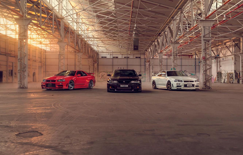 Photo wallpaper Nissan, Red, Car, Black, White, Skyline, R34, Nismo, R33
