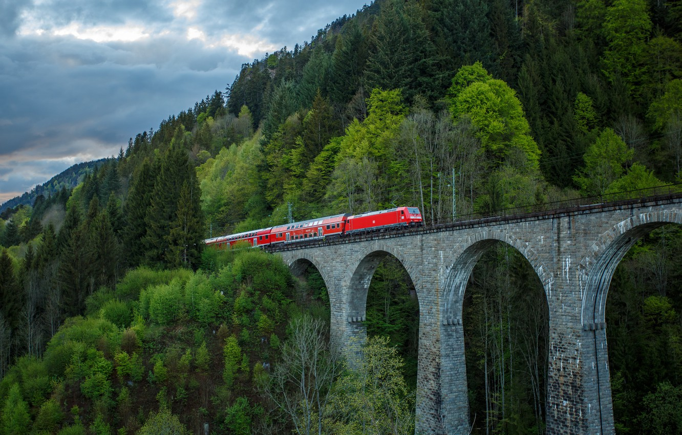 Photo wallpaper landscape, bridge, train
