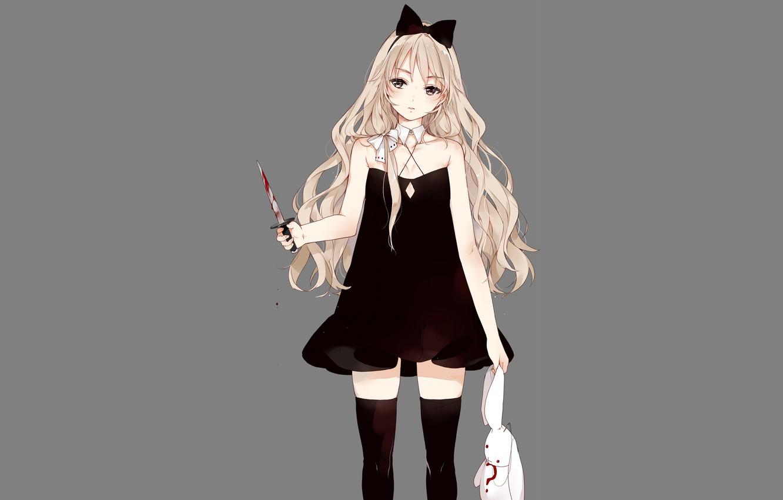Photo wallpaper girl, knife, grey background