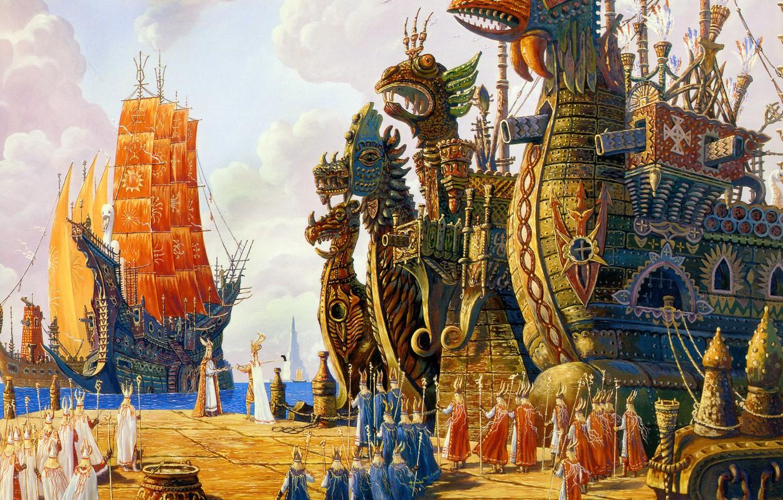 Photo wallpaper clouds, birds, ships, paganism, Fleet Hyperborea to execute the order, Vsevolod Ivanov