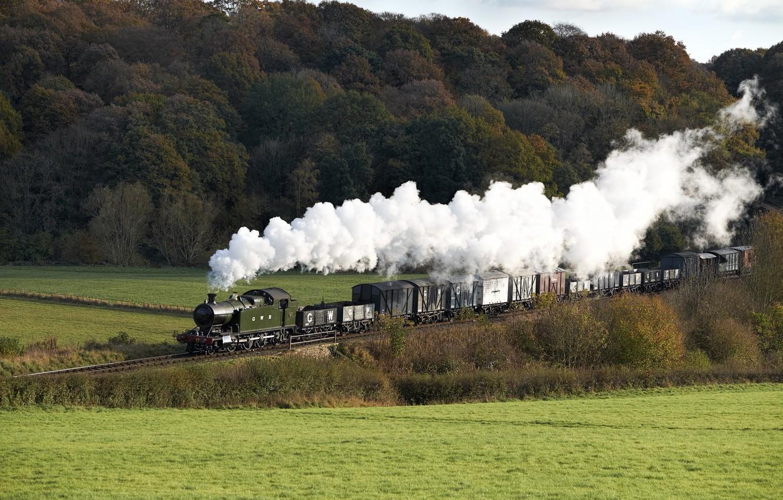Photo wallpaper nature, smoke, train, the engine, cars