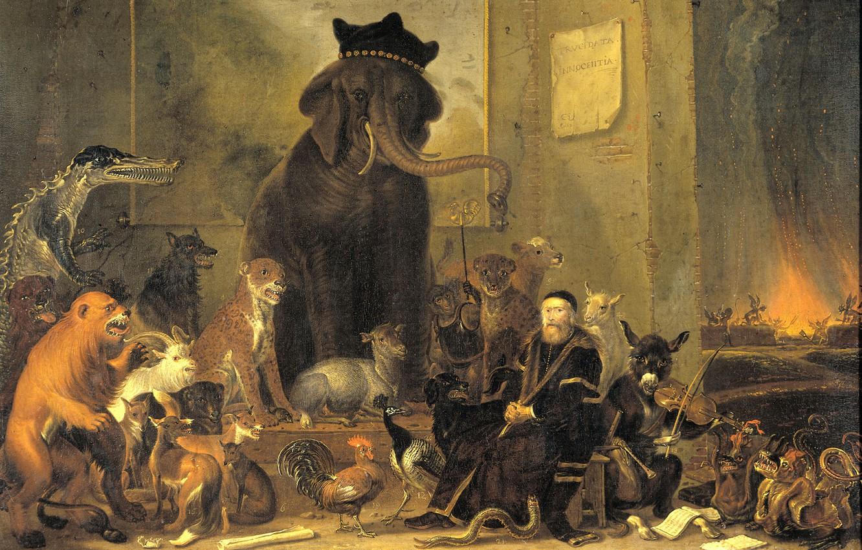 Wallpaper Oil Picture Canvas Cornelis Saftleven A Satire On