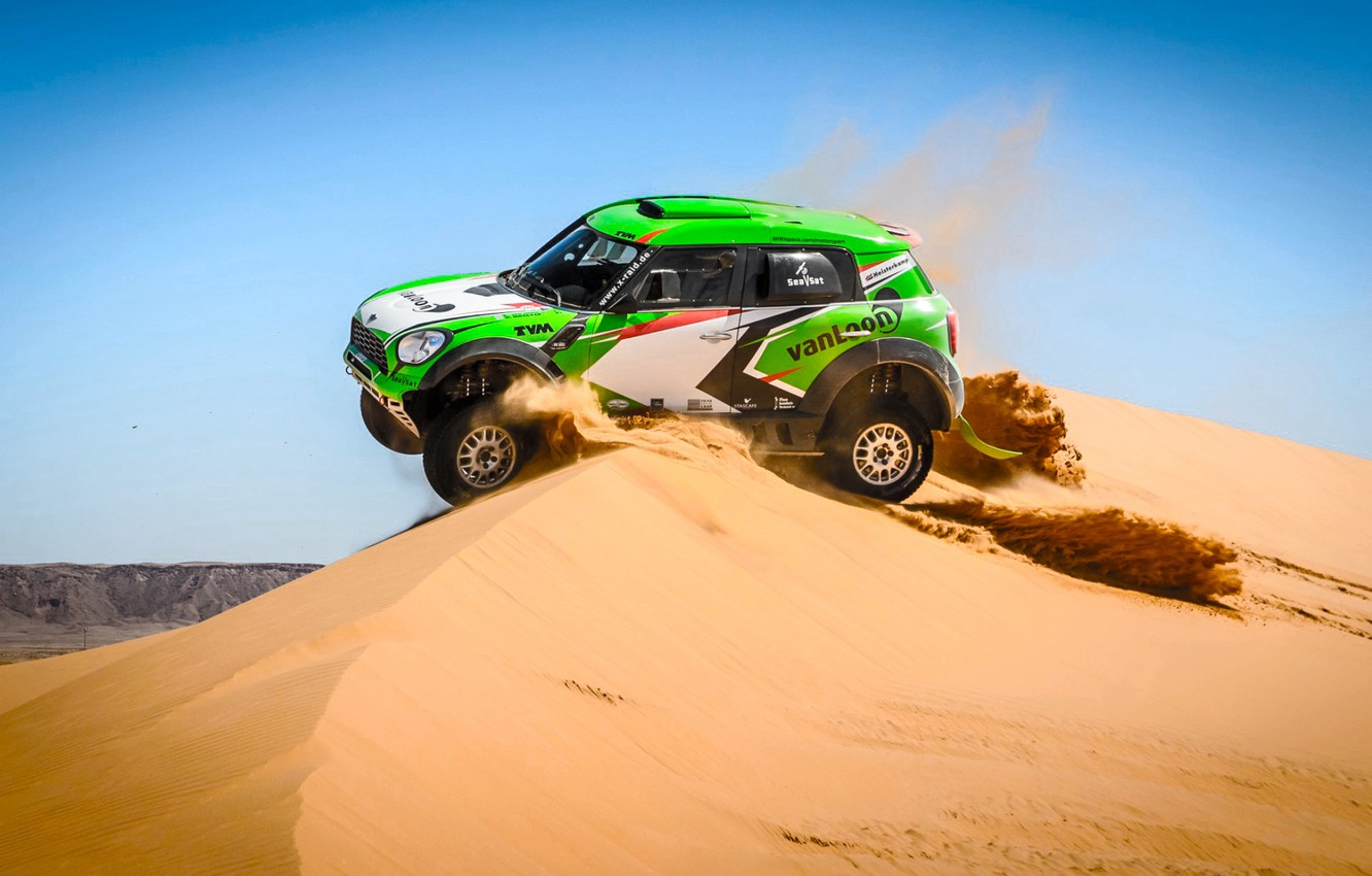 Photo wallpaper Sand, Mini, Dust, Sport, Green, Speed, Race, Day, Hills, Rally, Rally, Dune, Raid, MINI Cooper, ...