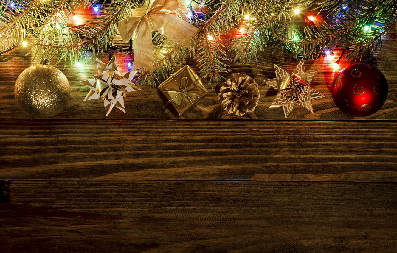 Photo wallpaper New Year, Christmas, christmas, balls, wood, merry christmas, gift, decoration, xmas, fir tree