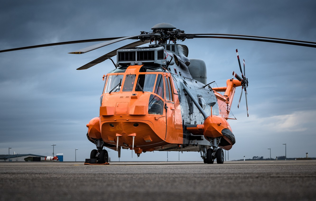 Photo wallpaper helicopter, the airfield, blades, Sea King, Sikorsky S-61