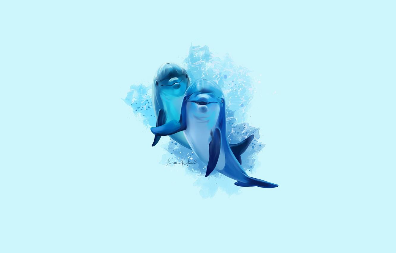 Photo wallpaper pair, dolphins, cute