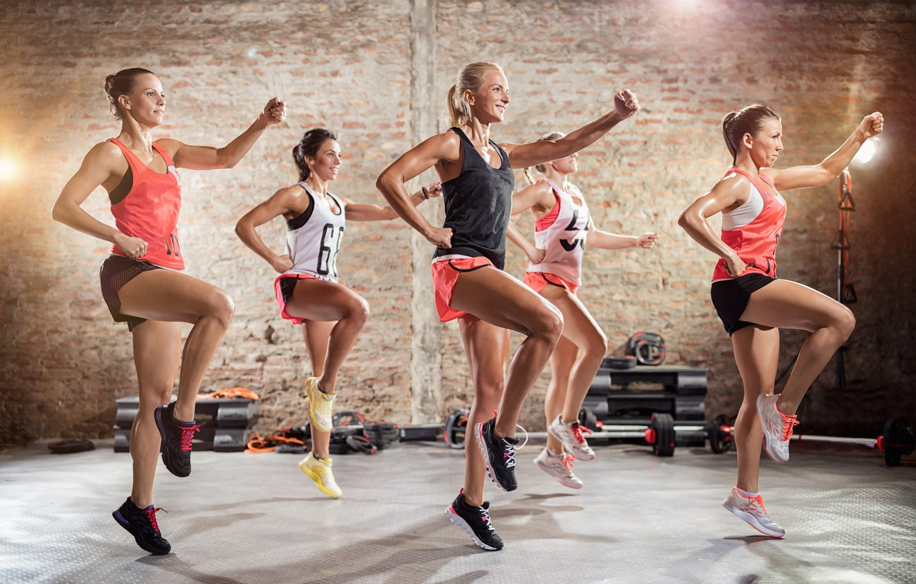 Photo wallpaper girls, shorts, group, exercises, fitness, figure, sneakers, poses, the gym, athletes, Mikey
