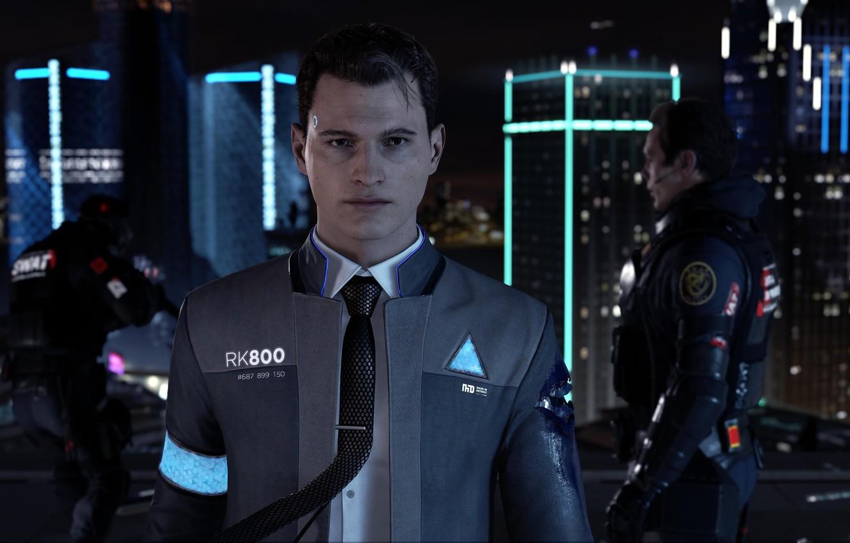 Photo wallpaper gun, game, soldier, weapon, suit, uniform, tie, seifuku, Detroit: Become Human