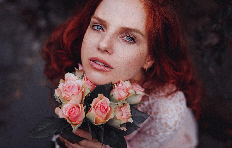 Photo wallpaper look, girl, flowers, mood, roses, red, redhead
