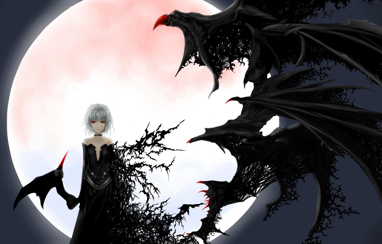 Photo wallpaper night, bat, black dress, red eyes, art, transformation, vampire, black wings, Touhou Project, Remilia Scarlet, …