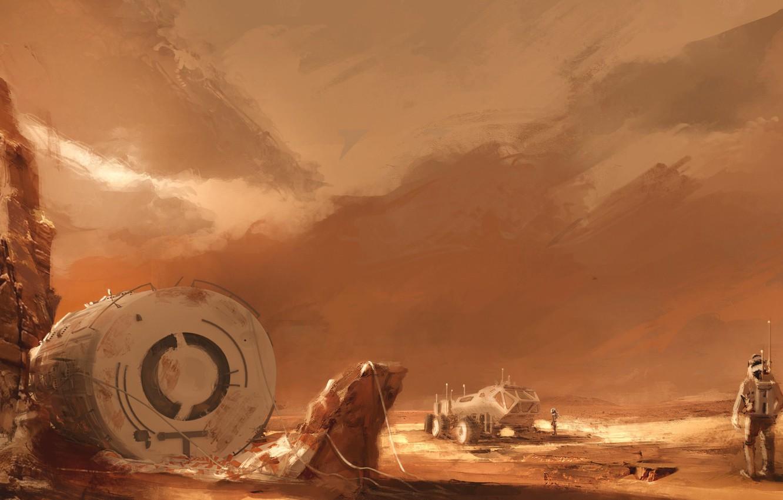 Photo wallpaper space, fantasy, desert, rocks, planet, base, artwork, concept art, Mars, fantasy art, astronauts, spacecraft