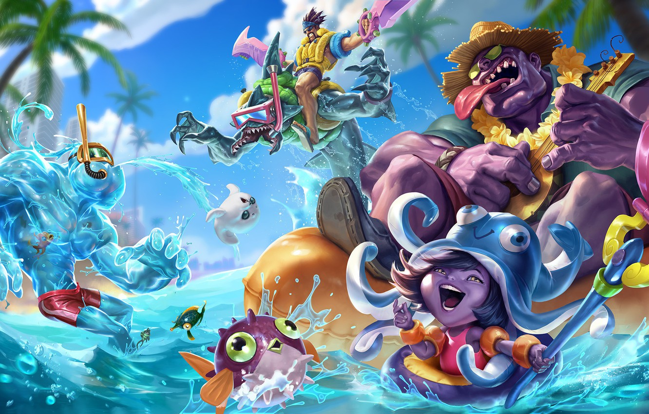 Photo wallpaper the game, art, champion, sixmorevodka studio, Pool Party - League of Legends