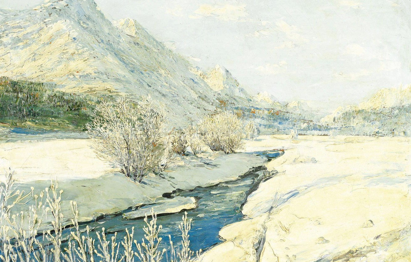 Photo wallpaper landscape, mountains, stream, picture, Georgy Lapchin, Georgy Lapshin, Valley in the Snow