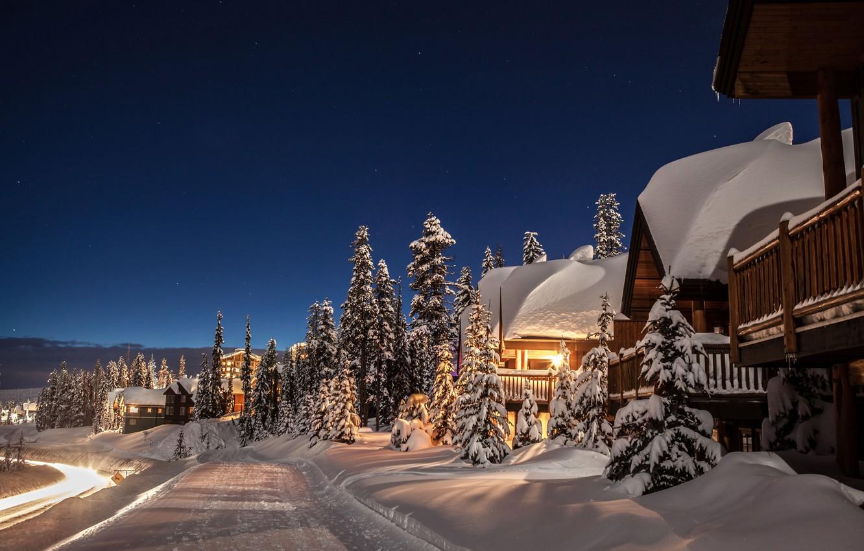 Photo wallpaper winter, road, snow, trees, home, ate, Canada, the snow, Canada, British Columbia, winter landscape, British …