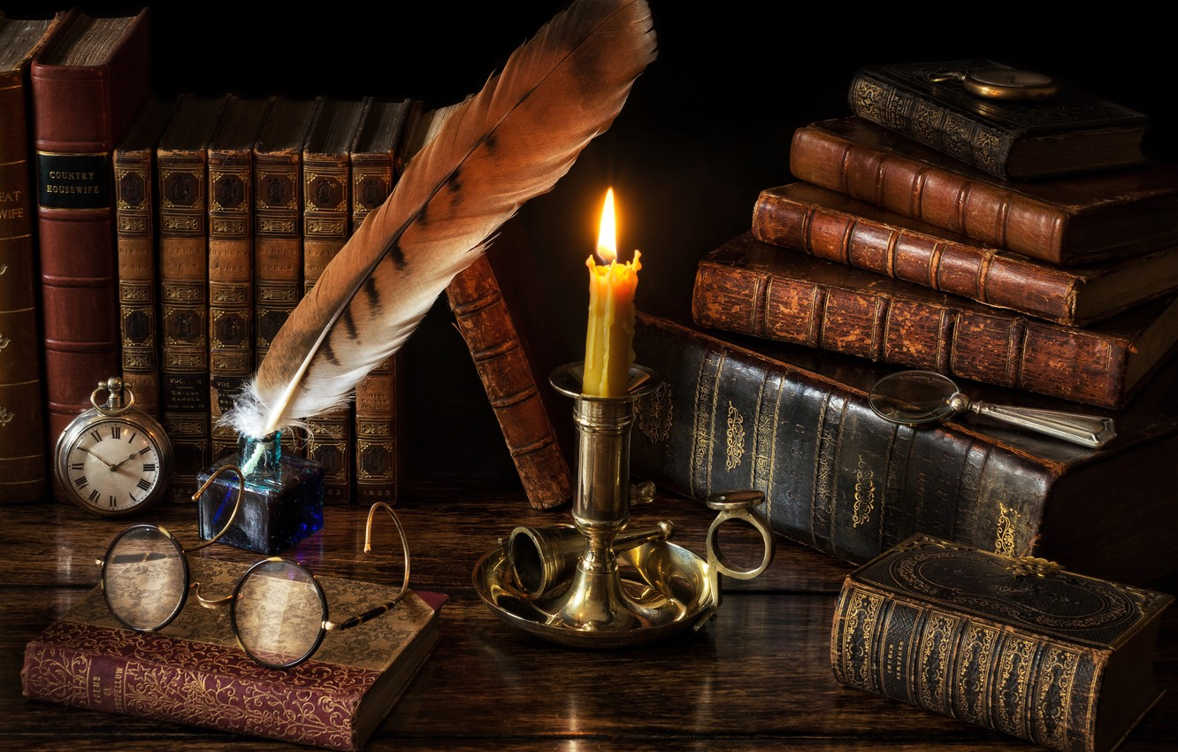 Photo wallpaper style, pen, watch, books, candle, glasses, magnifier, candle holder, ink