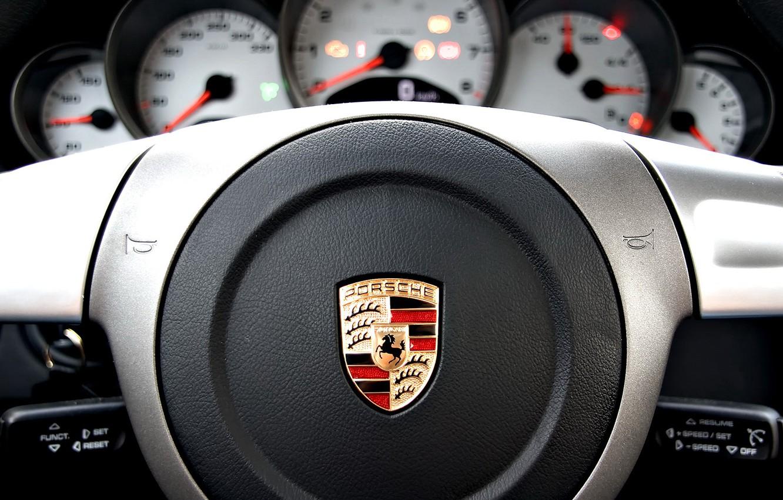 Photo wallpaper Porsche, vehicle, console, steering wheel