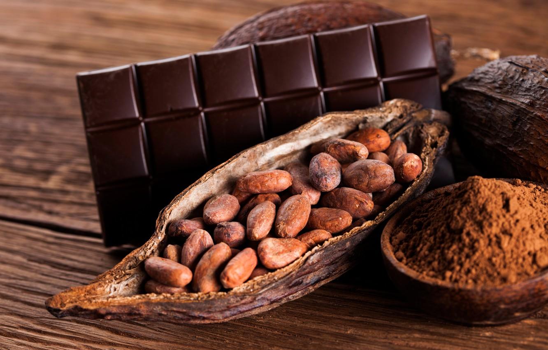 Photo wallpaper chocolate, nuts, bokeh, cocoa
