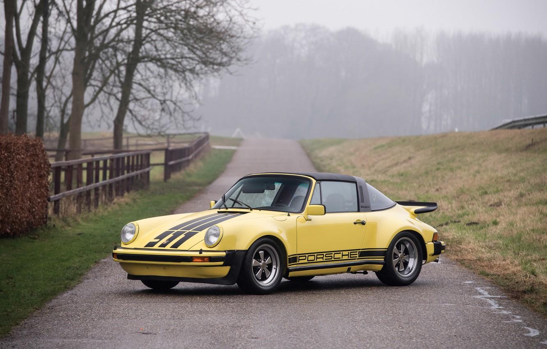 Photo wallpaper road, autumn, yellow, fog, 911, Porsche, car, road, Carrera, autumn, fog, Targa