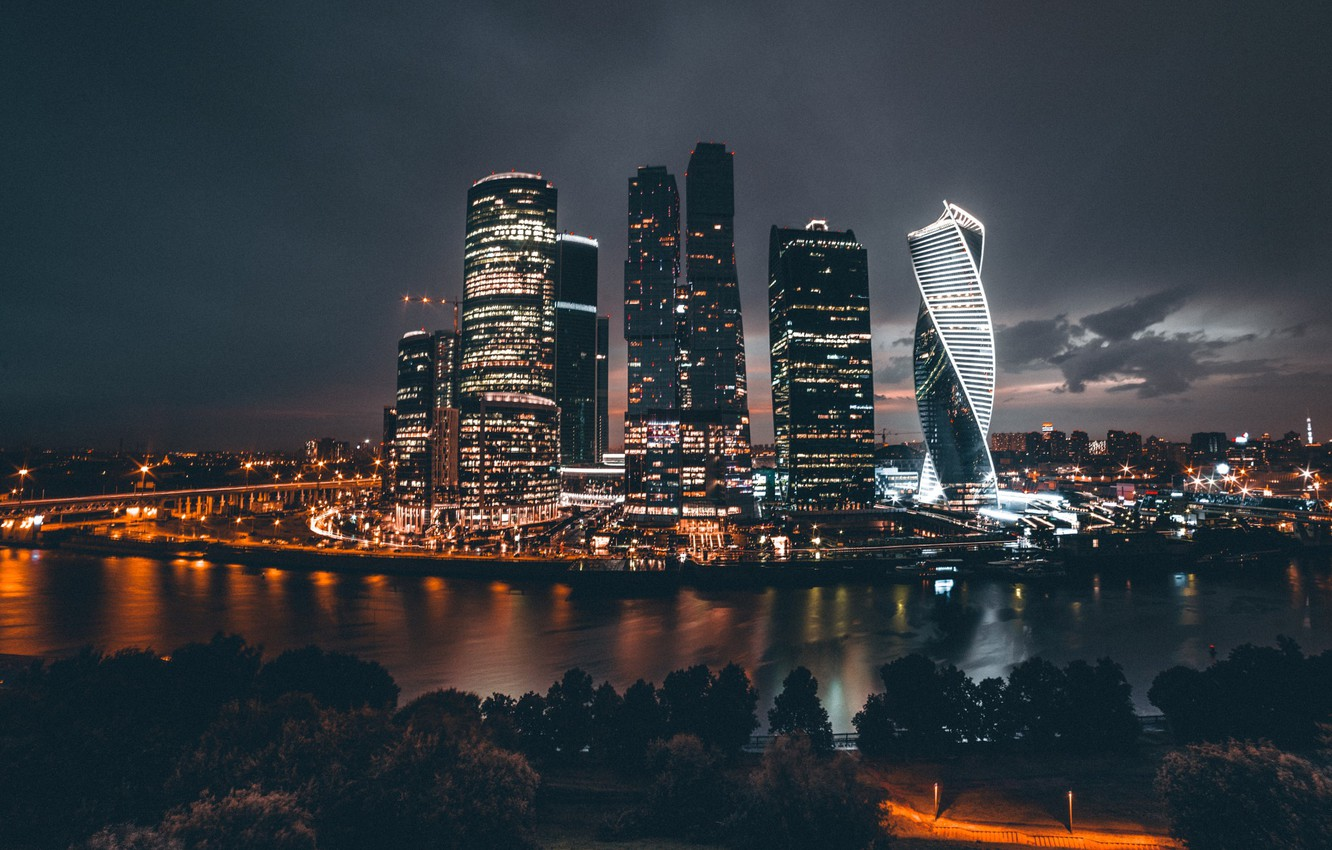 Photo wallpaper night, the city, lights, Russia, Moscow City