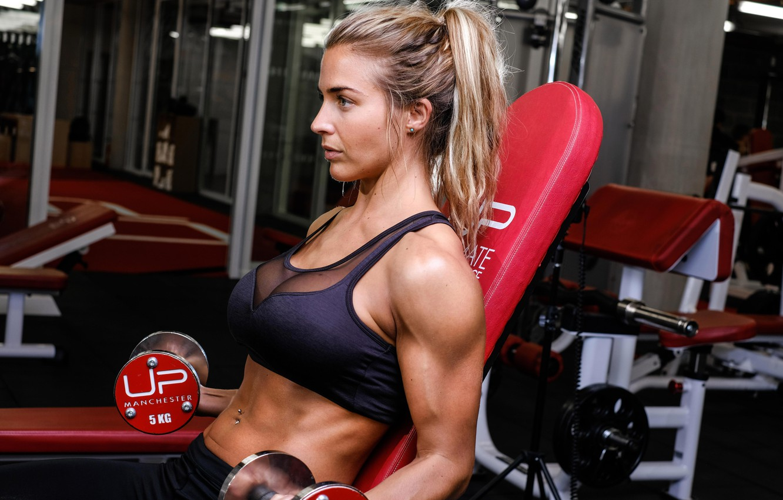 Photo wallpaper Gemma Atkinson, muscle, model, shoulder, fitness, dumbbells