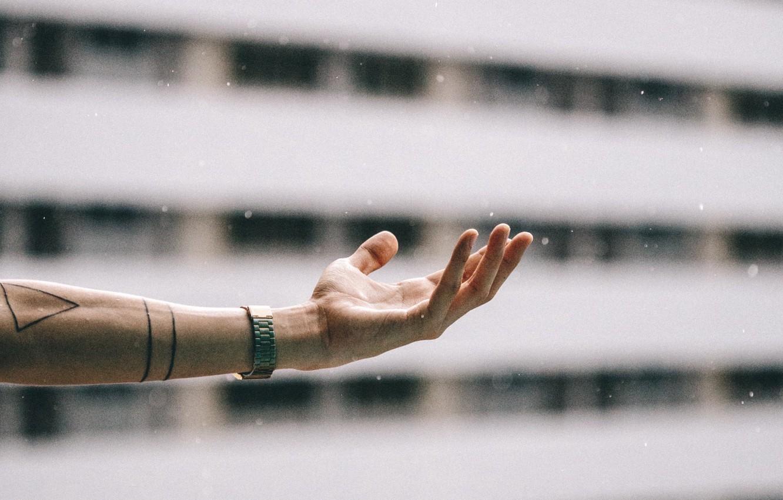 Photo wallpaper snow, watch, hand, tattoo