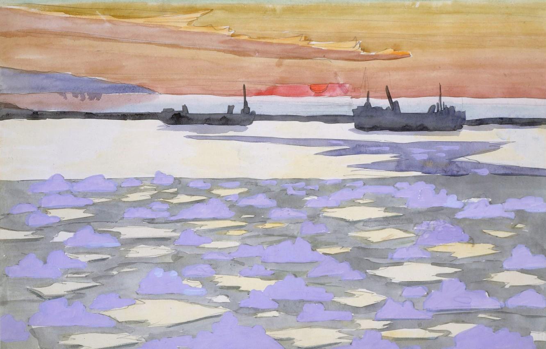 Photo wallpaper 1915, Battleships, Charles Ephraim Burchfield, icebreakers