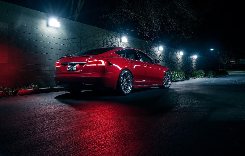 Photo wallpaper Red, Car, Tesla, Rear, Electric, P100D
