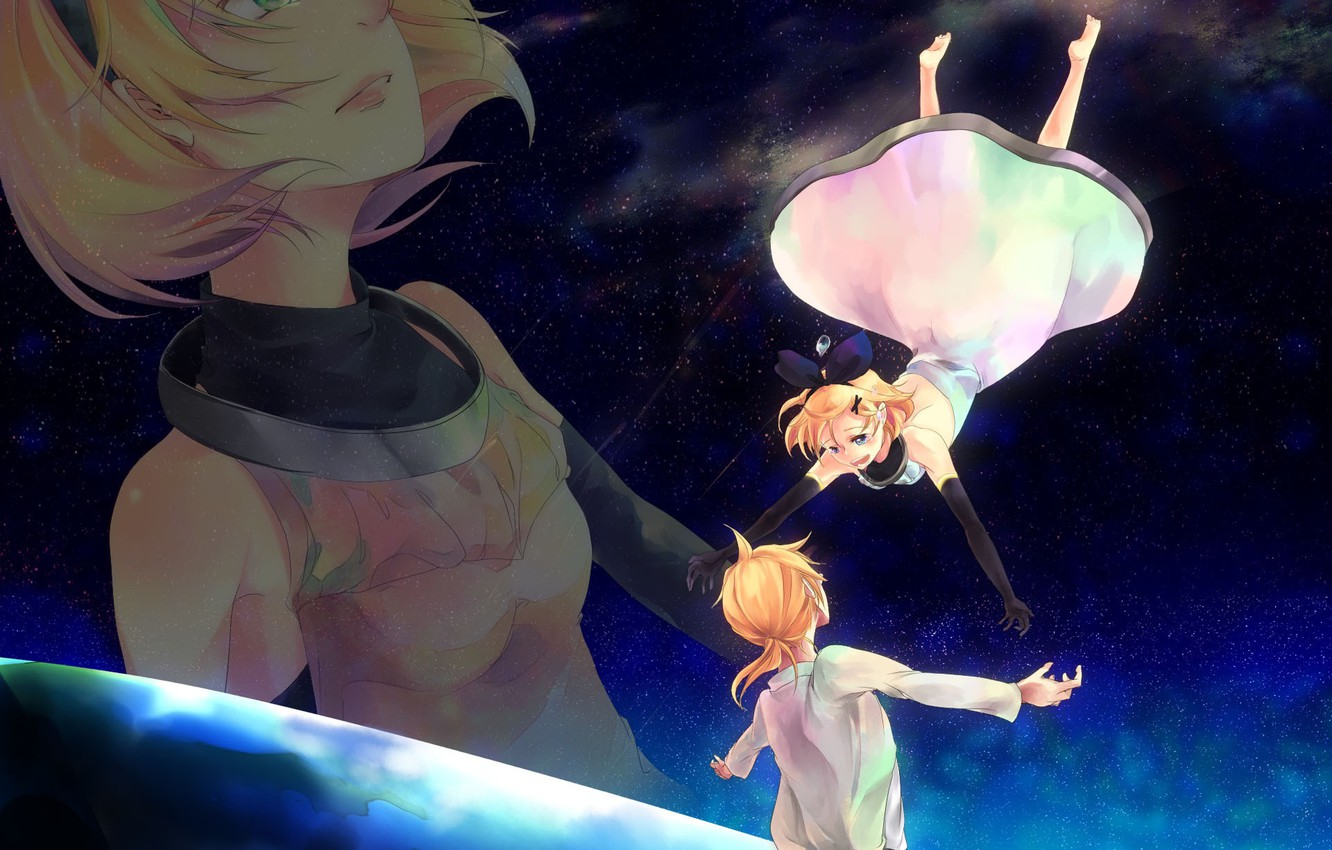 Photo wallpaper space, anime, art, two, Vocaloid, Vocaloid, characters