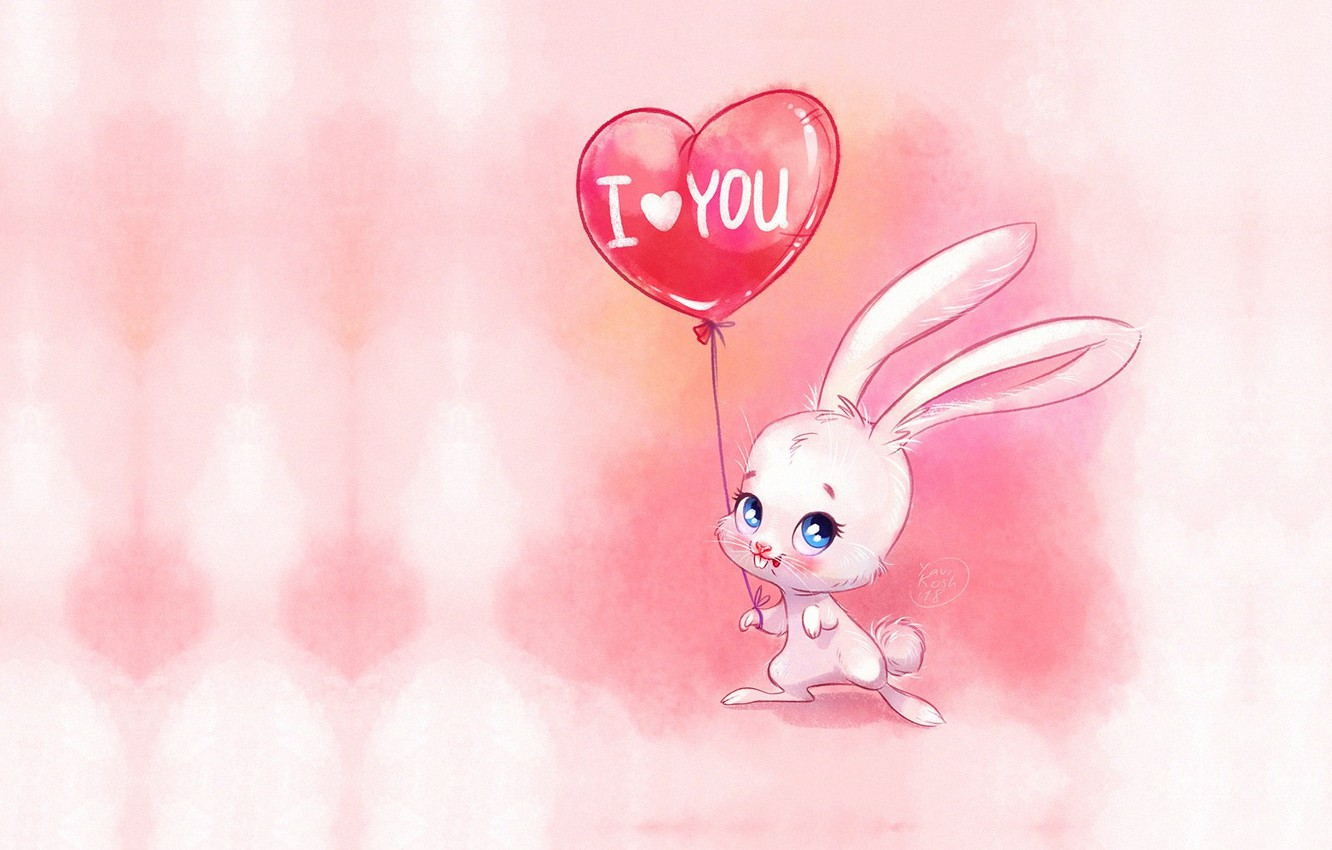 Photo wallpaper holiday, ball, art, Valentine, Bunny, children's, Victoria Kosheleva