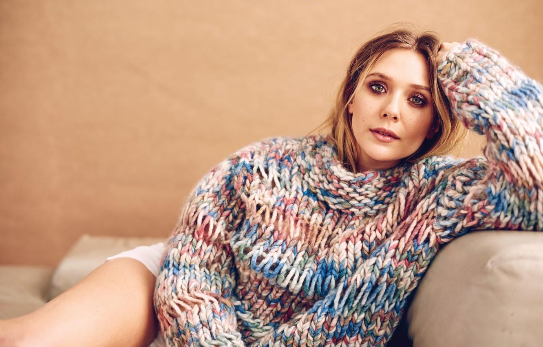 Photo wallpaper girl, actress, beauty, beauty, sweater, actress, Elizabeth Olsen